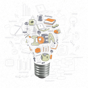 Stylish bulb made by different business infographic elements for idea concept.
