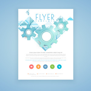 Stylish business flyer, template or brochure design with 3D gears and colorful flat web icons.