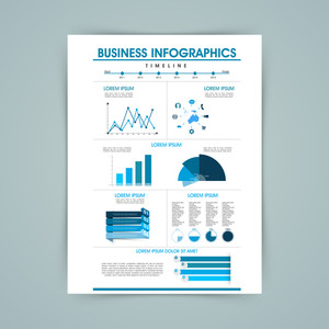 Stylish business infographics template including various elements as graphs, charts and bar for professional presentation.