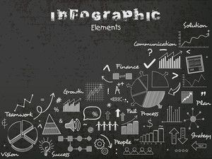 Stylish Infographic elements created by white chalk on chalkboard background.