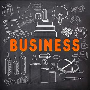 時尚商務的文字與白色粉筆在黑板上後台創建信息圖表元素。