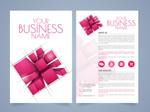 Stylish two page business brochure, template or flyer presentation with abstract design and place holders for your content.