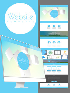 Stylish website template design for your business presentation with desktop.