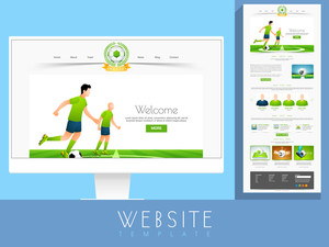 Stylish website template layout for sports concept with illustration of football players and other elements.