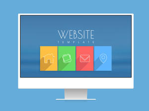 Stylish website template with colorful web icons on desktop for your business presentation.