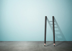 Success creative concept, pencil Ladder with copy space
