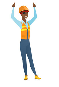 Successful african builder in hard hat and workwear standing with raised arms up. Happy builder celebrating success and giving thumbs up. Vector flat design illustration isolated on white background.
