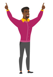Successful african business man standing with raised arms up. Full length of young happy business man celebrating with raised arms up. Vector flat design illustration isolated on white background.