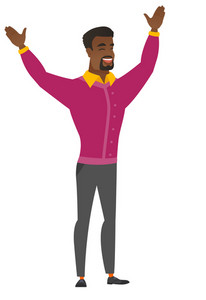 Successful african businessman jumping with raised arms up. Full length of happy businessman jumping in the air and celebrating success. Vector flat design illustration isolated on white background.