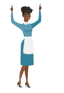 Successful african cleaner standing with raised arms and pointing fingers up. Full length of young cleaner celebrating with raised arms up. Vector flat design illustration isolated on white background