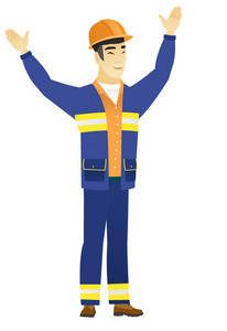 Successful asian constructor standing with raised arms up. Full length of young happy constructor celebrating with raised arms up. Vector flat design illustration isolated on white background.
