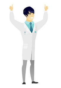 Successful asian doctor standing with raised arms up. Successful happy doctor giving thumbs up. Young smiling doctor celebrating success. Vector flat design illustration isolated on white background.