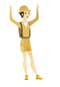 Successful asian female traveler standing with raised arms up. Full length of young happy female traveler celebrating with raised arms up. Vector flat design illustration isolated on white background.