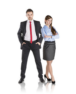 Successful business couple is standing on isolated background.