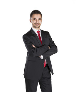 Successful business man is standing on isolated white background