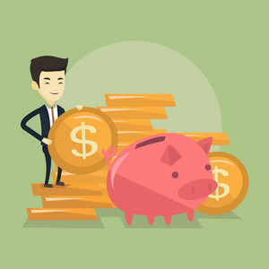 Successful business man putting money in a big pink piggy bank. Young asian business man saving his money in piggy bank. Concept of saving money. Vector flat design illustration. Square layout.