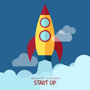 Successful Business Start Up concept with illustration of a rocket flying above clouds.