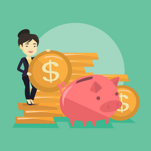 Successful business woman putting money in a big pink piggy bank. Young asian business woman saving her money in piggy bank. Concept of saving money. Vector flat design illustration. Square layout.