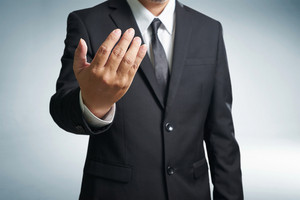 Successful businessmen  inviting to come hands style , (businessman, coach, leadership) leader concept.