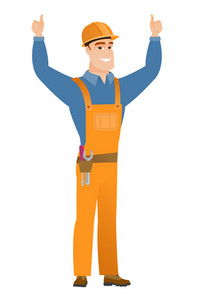 Successful caucasian builder in hard hat and workwear standing with raised arms up. Happy builder celebrating success and giving thumbs up. Vector flat design illustration isolated on white background
