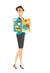 Successful caucasian business woman reading a magazine. Young business woman holding magazine.Full length of business woman with magazine. Vector flat design illustration isolated on white background.