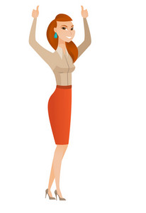 Successful caucasian business woman standing with raised arms up. Business woman celebrating business success. Business success concept. Vector flat design illustration isolated on white background.