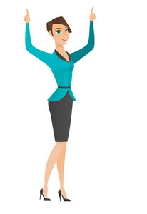 Successful caucasian business woman standing with raised arms up. Full length of young business woman celebrating with raised arms up. Vector flat design illustration isolated on white background.