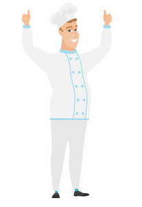 Successful caucasian chef cook standing with raised arms up. Successful happy chef cook giving thumbs up. Chef cook celebrating success. Vector flat design illustration isolated on white background.