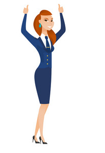 Successful caucasian stewardess standing with raised arms up. Young stewardess celebrating success. Successful stewardess giving thumbs up. Vector flat design illustration isolated on white background