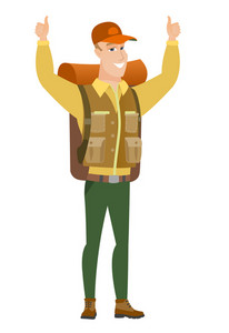 Successful caucasian traveler standing with raised arms up. Successful traveler giving thumbs up. Smiling traveler celebrating success. Vector flat design illustration isolated on white background.