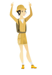 Successful young asian traveler standing with raised arms up. Successful female traveler giving thumbs up. Traveler celebrating success. Vector flat design illustration isolated on white background.