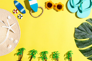 Summer lifestyle objects theme on a yellow background