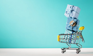 Summer shopping theme with cart and starfish