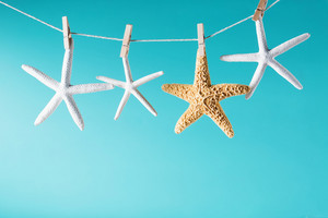 Summer theme with hanging starfish on a bright blue background