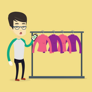 Surprised asian man looking at price tag in clothing store. Young shopping man shocked by price tag in clothing store. Amazed man staring at price tag. Vector flat design illustration. Square layout.