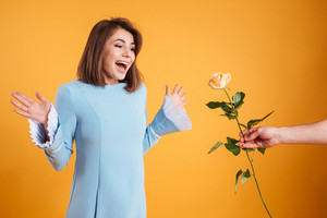 Surprised excited young woman standing and receiving pink rose over yellow background
