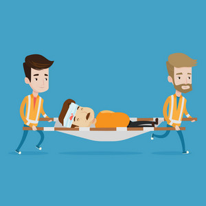 Team of emergency doctors carrying injured man on emergency medical stretcher. Caucasian paramedics transporting victim after accident on the stretcher. Vector flat design illustration. Square layout.