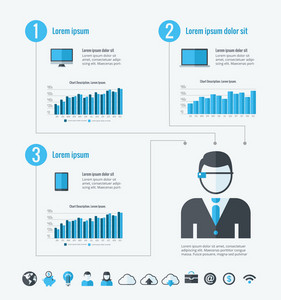 Technology Infographic Template. Vector Customizable Elements.