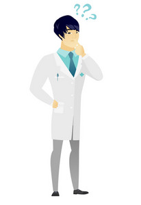 Thinking doctor with question marks. Thoughtful doctor with question marks. Doctor in medical gown looking at question marks above head. Vector flat design illustration isolated on white background.