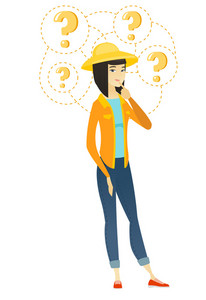 Thinking farmer with question marks. Thoughtful farmer with question marks. Farmer with finger on chin and question marks above her head. Vector flat design illustration isolated on white background.