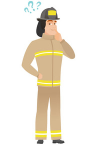 Thinking firefighter with question marks. Thoughtful firefighter with question marks. Firefighter looking at question marks above his head. Vector flat design illustration isolated on white background