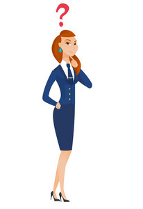 Thinking stewardess with question mark. Thoughtful stewardess with question mark. Stewardess looking at question mark above her head. Vector flat design illustration isolated on white background.