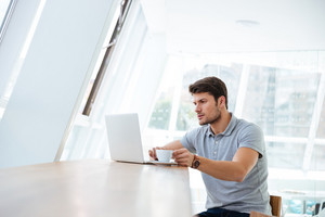 Thoughtful young man working with laptop while having coffee break indoors