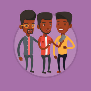 Three african-american friends looking at smartphone and laughing. Young guy showing something to his friends on his mobile phone. Vector flat design illustration in the circle isolated on background.