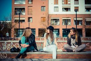 three beautiful friends authentic in urban contest