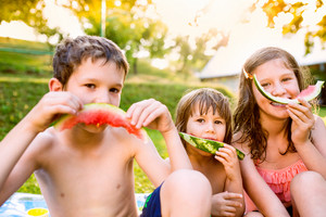 Three cute children eating watermelon outside in garden, sunny summer back yard