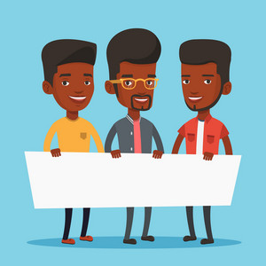 Three young african-american men holding white blank board. Group of young students holding an empty board. Group of friends showing white board. Vector flat design illustration. Square layout.