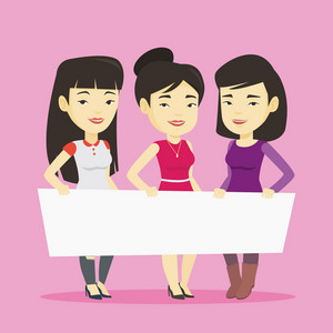 Three young asian friends holding white blank board. Group of young students holding an empty board. Group of smiling friends showing white board. Vector flat design illustration. Square layout.