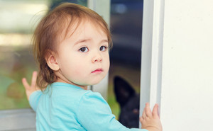 Toddler girl opening the door for her dog