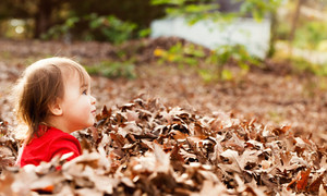 Toddler girl playing outside in a pile of autumn leaves at sunset